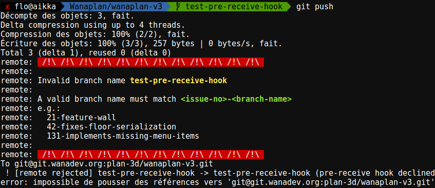 Screenshot Git pre-commit hook rejected branch